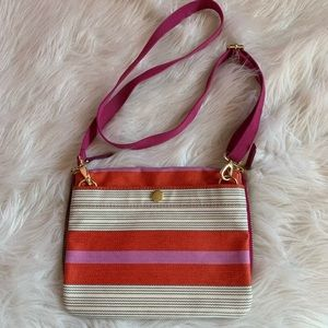 Fossil Fuschia Orange Striped Coated Crossbody